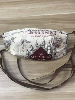 Marauder's Map fabric pleated mask