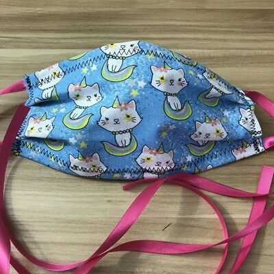 Caticorn fabric pleated mask