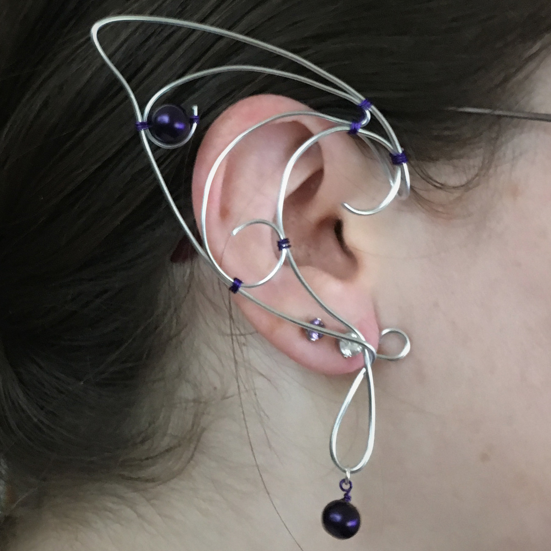 Elf Ear Cuff - Silver with beads EC002