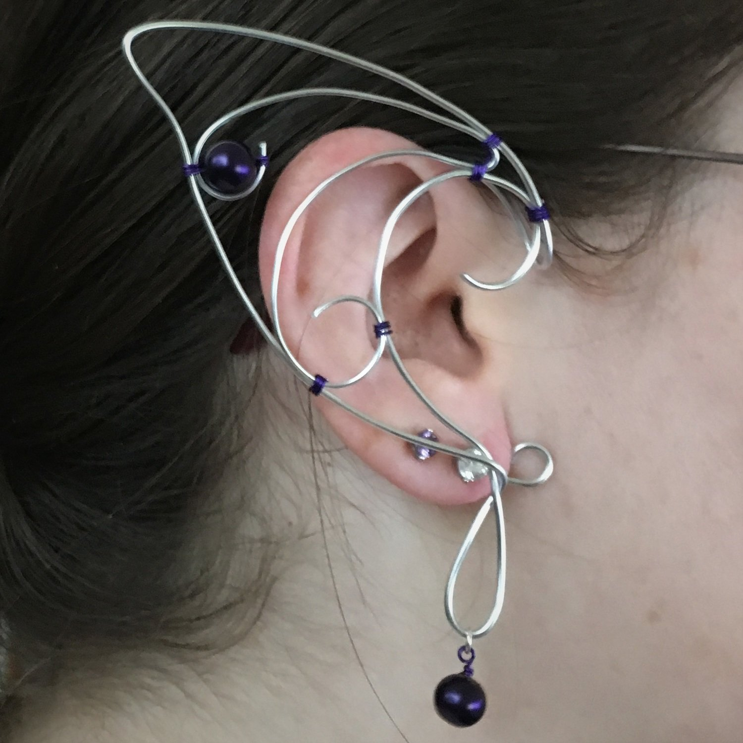 Elf Ear Cuff - Silver with beads