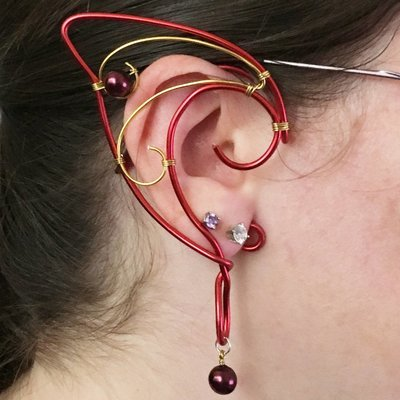 Elf Ear Cuff - Red and gold with beads