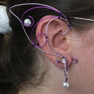 Elf Ear Cuff - Lavender and Purple with beads