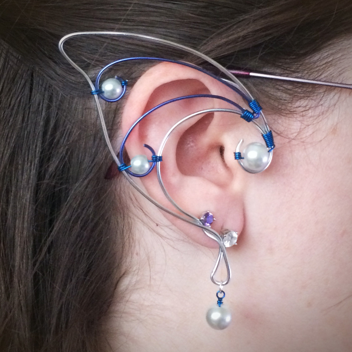 Elf Ear Cuff - Silver and Blue with beads EC010
