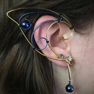 Elf Ear Cuff - Gold and Blue with beads