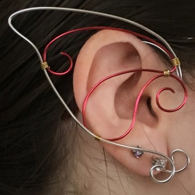 Elf Ear Cuff - Silver and Red