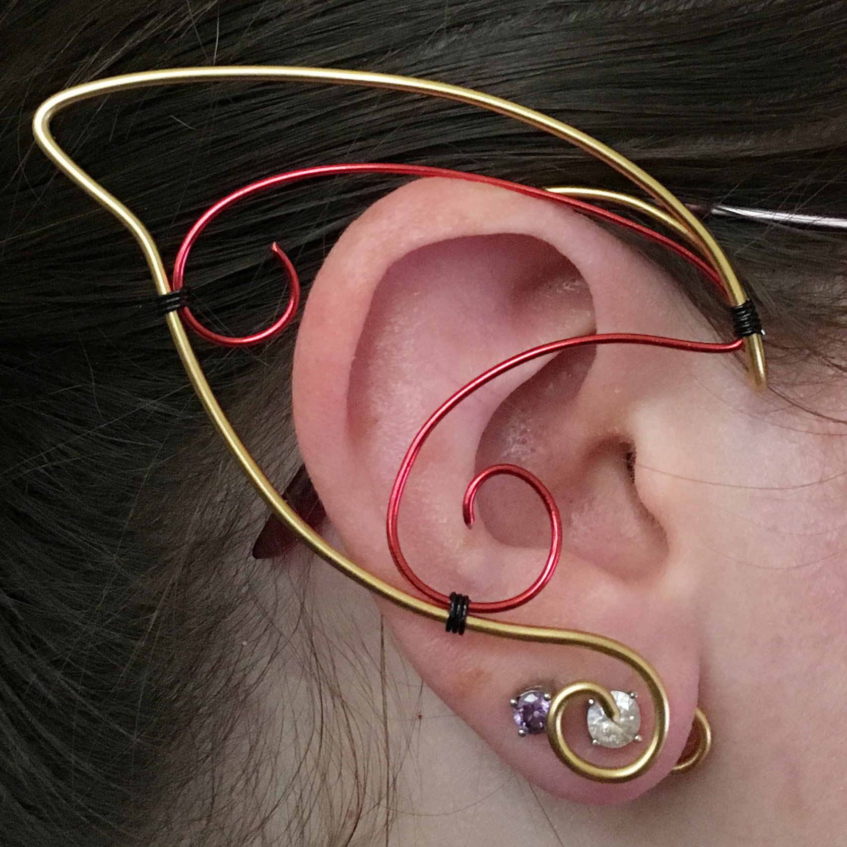 Elf Ear Cuff - Gold and Red EC013