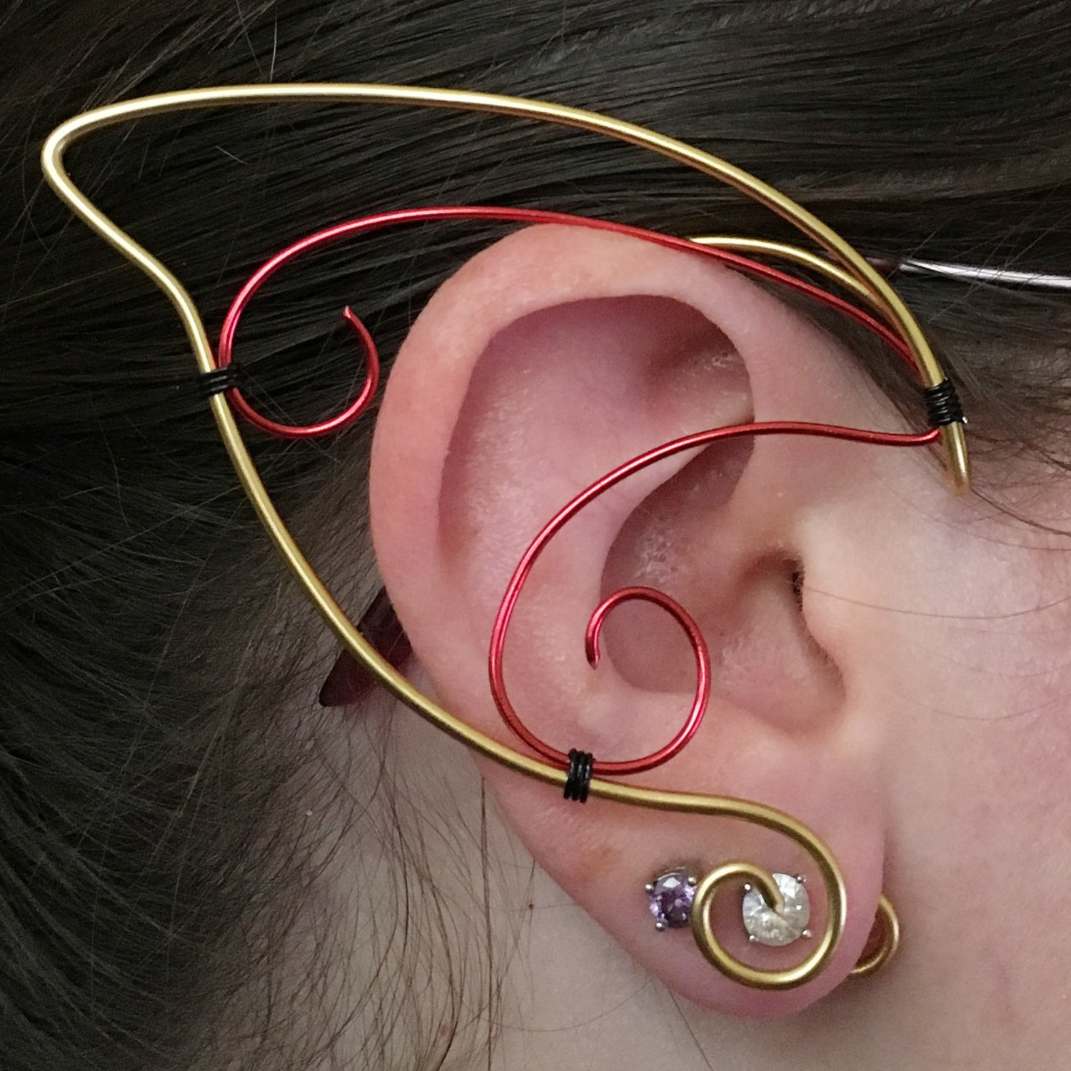 Elf Ear Cuff - Gold and Red