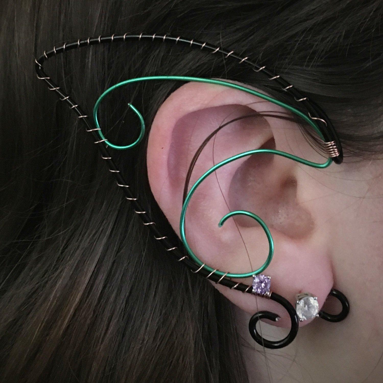 Elf Ear Cuff - Black and Green
