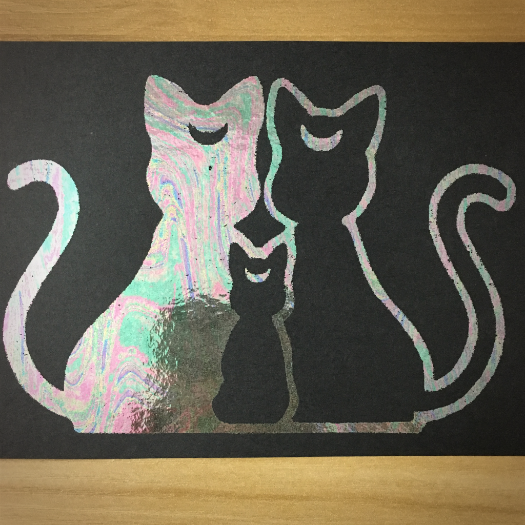 "4x6"" Three cats holographic print artholo21"