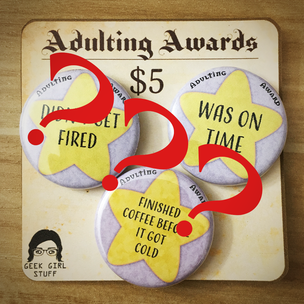 "1.25"" Adulting award 3-pack CUSTOMIZE your own! btncustom"