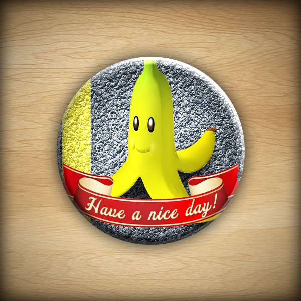 "1.25"" Have a nice day - banana button16"