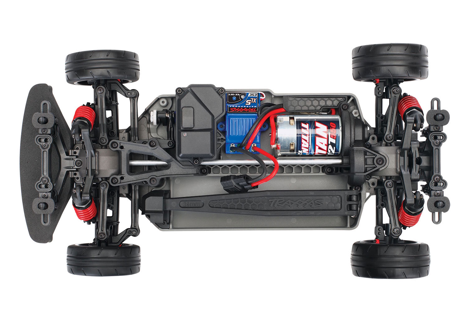 Traxxas Ford Mustang GT XL-5 (TQ/No Batt/No Chg) with Option Green and Orange Drift Wheels and Tires and Spool Assemblies Included