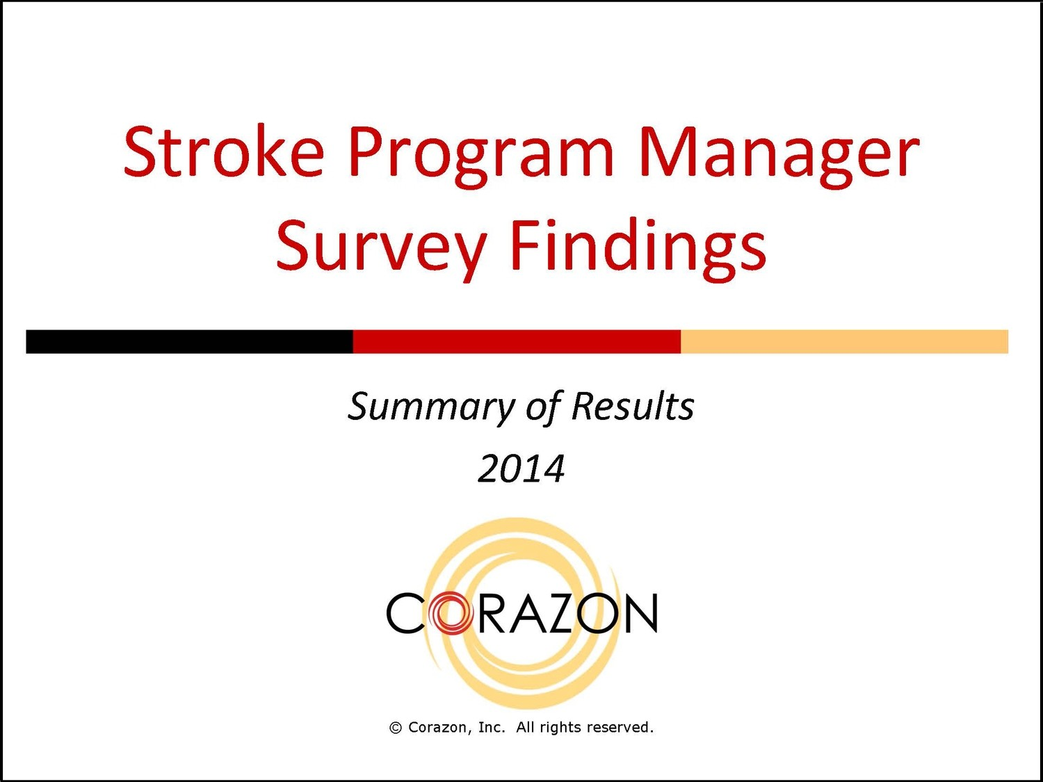 Stroke Program Manager Survey Findings