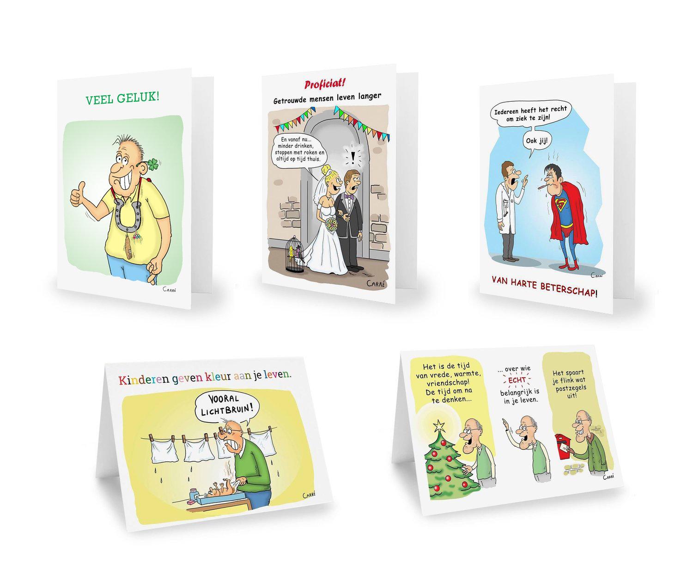 Geschenkpakket 5 Wenskaarten + omslag (Beterschap, Geboorte, , Veel Geluk, Trouw, Nieuwjaar)