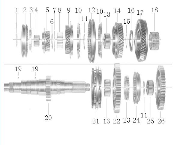 JAC 6TH SPEED DRIVE GEAR (6TH MAIN GEAR 19T) M-1701145-10-01