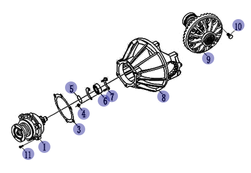 JAC MAIN REDUCER ASSY 4.33 2402000-HF17030C3