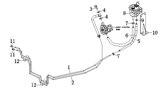 JAC POWER STEERING OIL RETURN PIPE ASSY 3406220D874