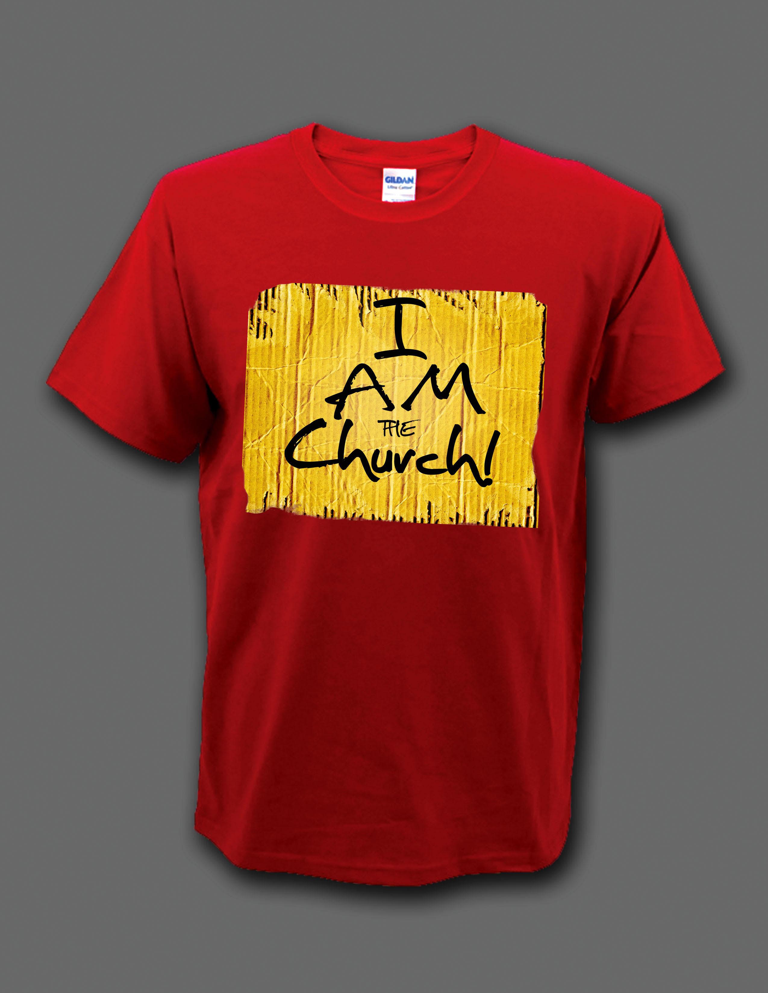 "Red ""I Am the Church"" t-shirt 00004"