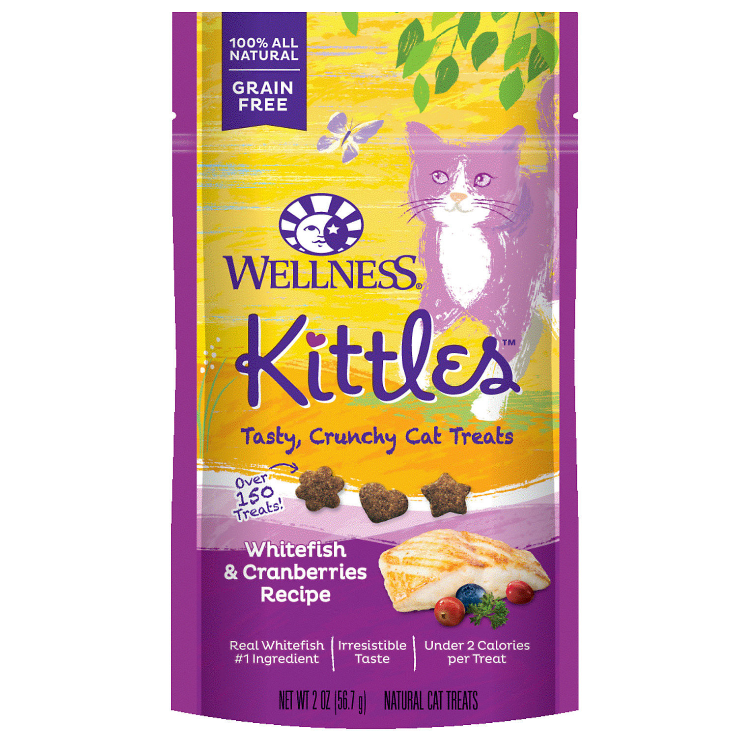 Wellness Kittles Grain Free Natural Cat Treats, Whitefish and Cranberries, 2 oz (5/19) (A.K5)