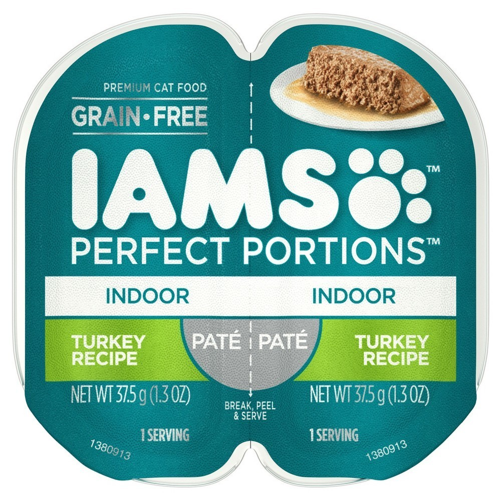 Iams Perfect Portions Grain Free Indoor Pate`salmon Recipe 2.6 oz 24 count (5/19) (A.I1)