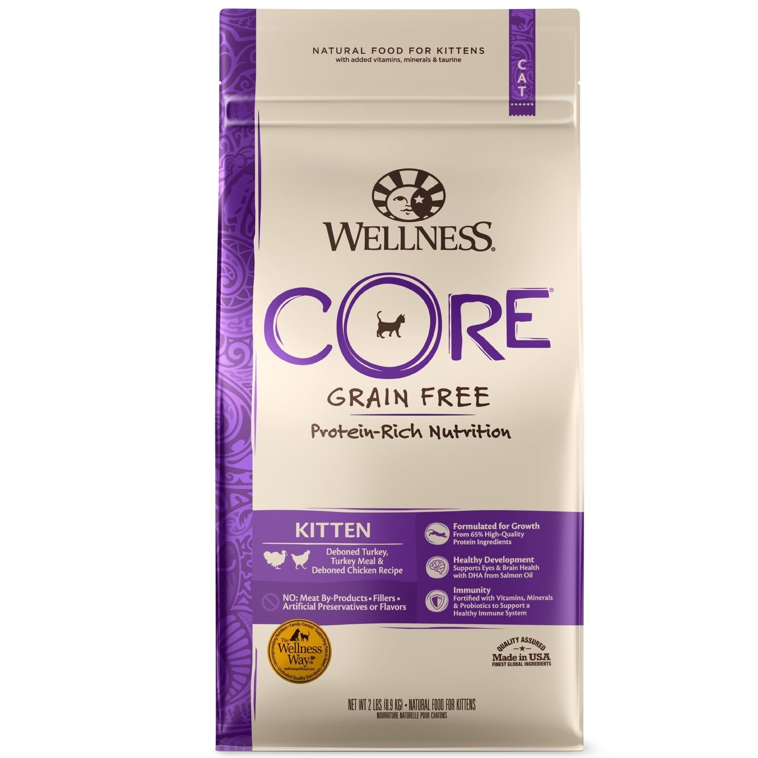 Wellness CORE Grain Free Kitten Formula Pet Food Bag, 2-Pound (5/19) (A.J2)