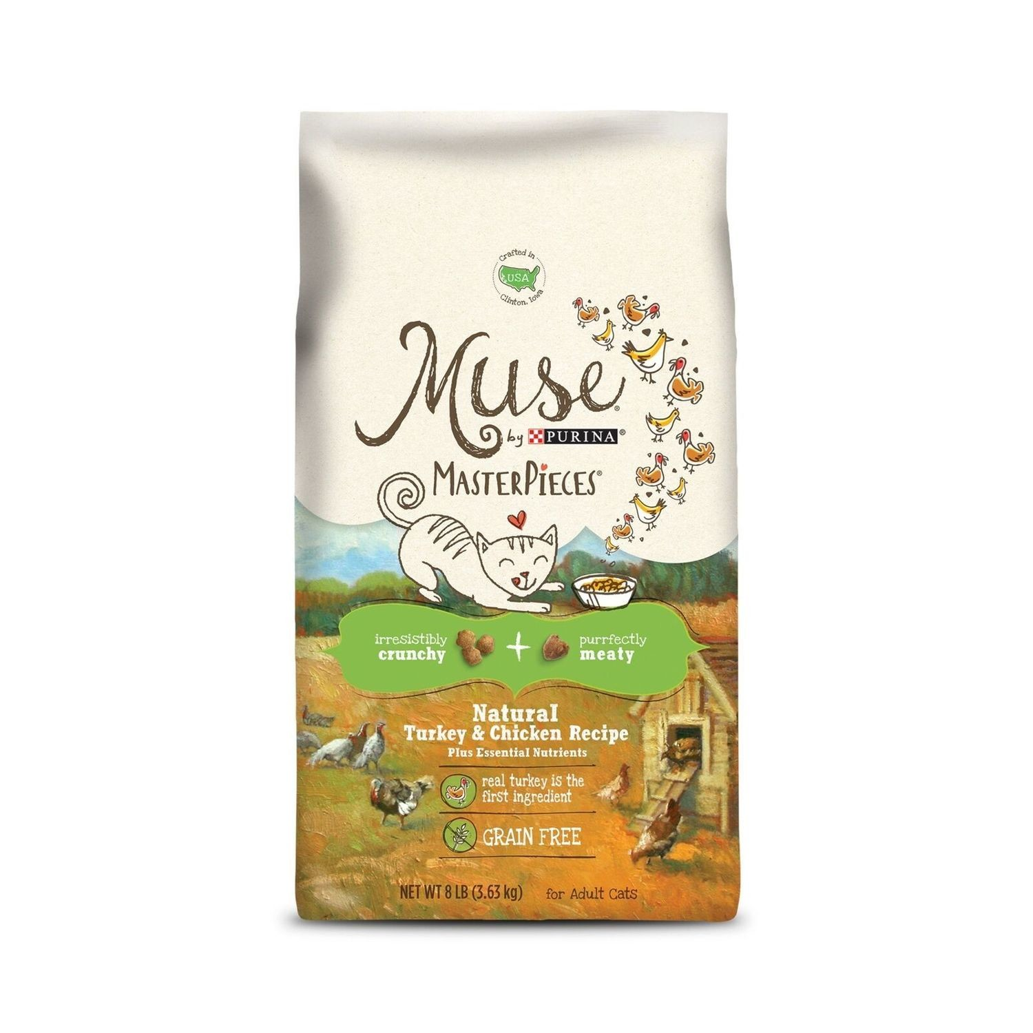 Muse Natural Grain Free Adult Dry Cat Food Dry Food With Meaty Masterpieces w/Turkey & Chicken 8 lbs. (8/19) (A.K3)