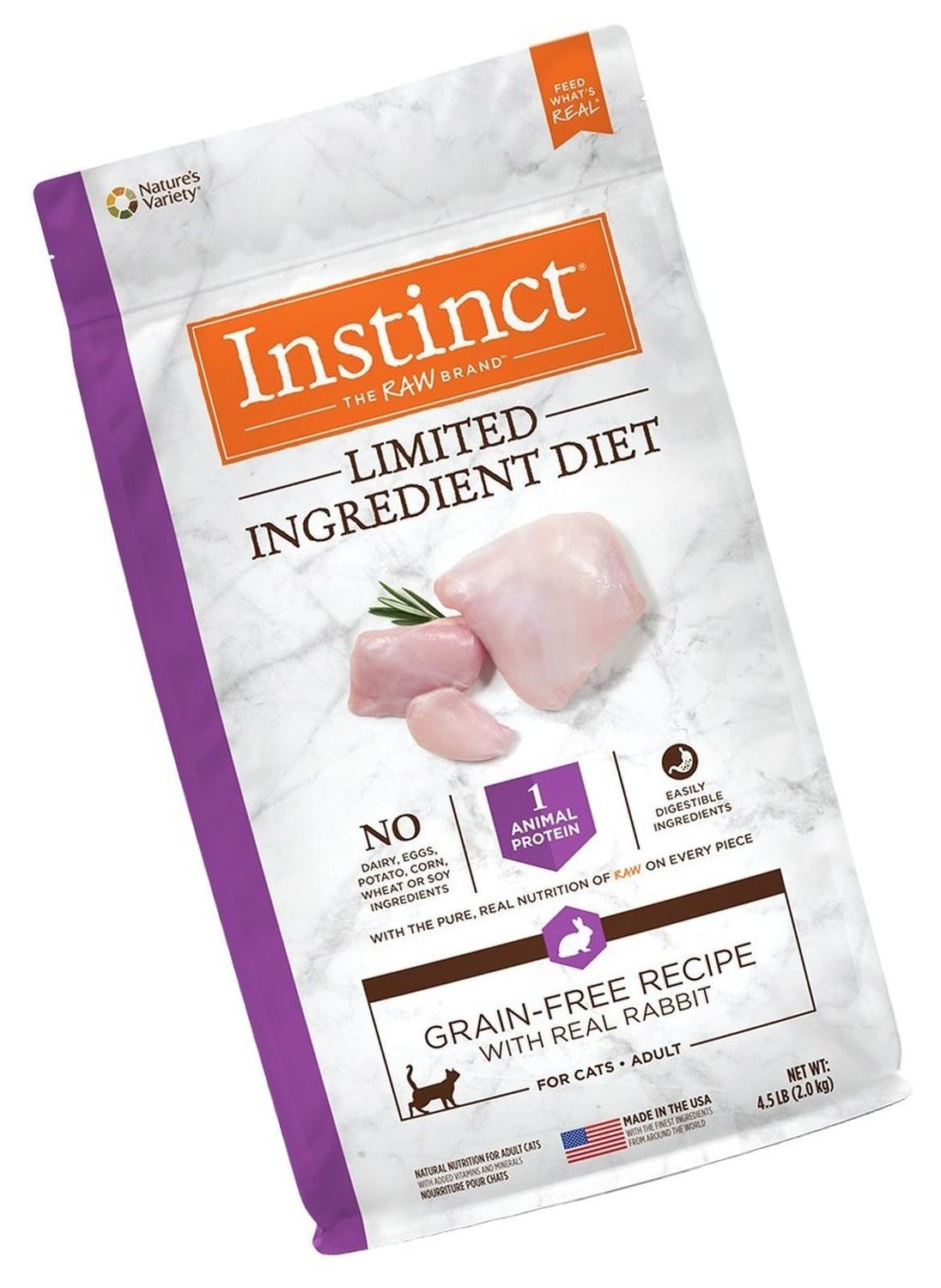 Natures Recipe Instinct Limited Ingredient Diet Grain Free Recipe With Real Rabbit Natural Dry 4.5 lbs (5/19) (A.J3)