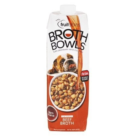 Fruitables Broth Bowls Beef Dog Supplement, 33.8 Oz (3/19) (O.O3/DW)