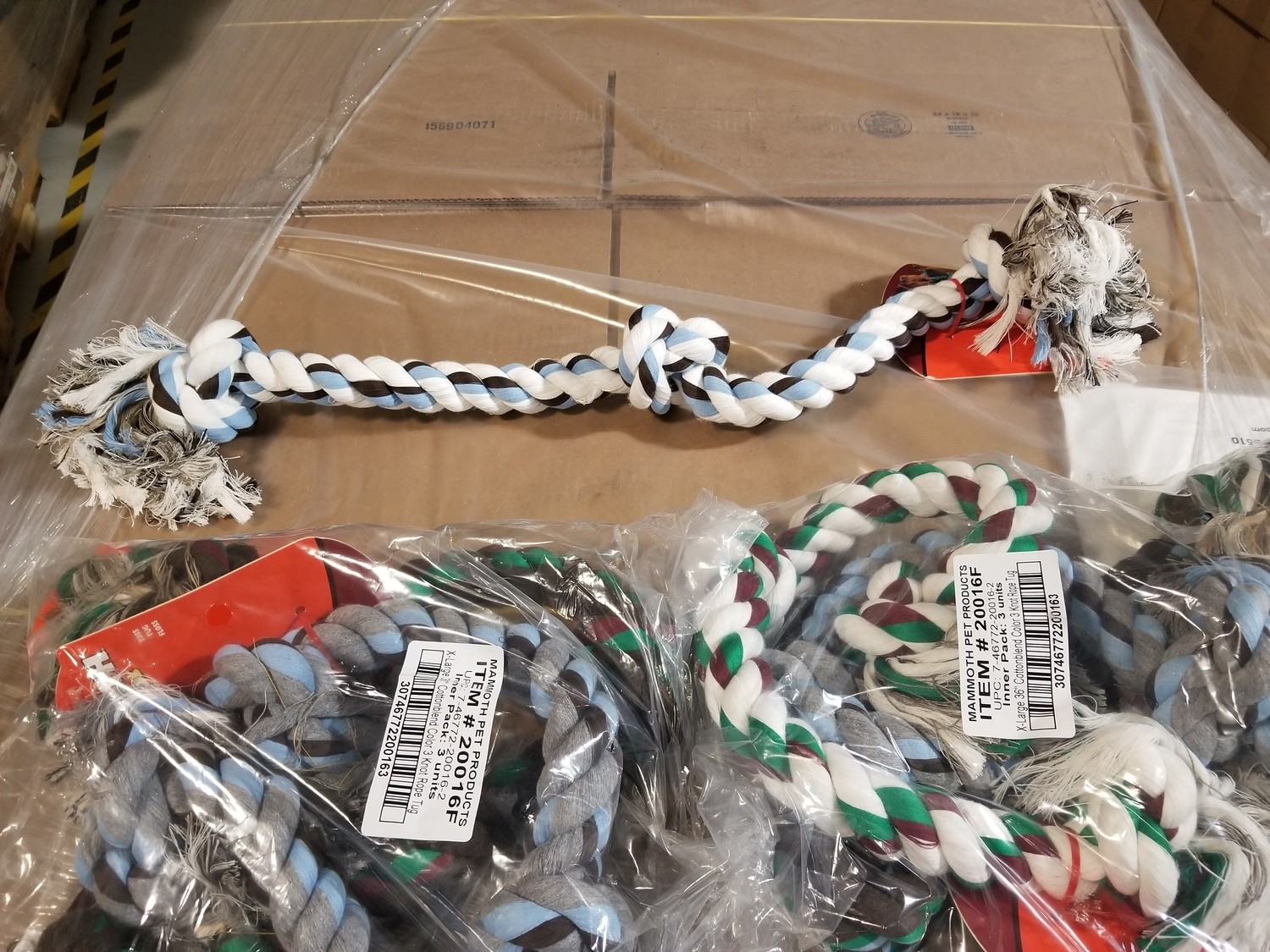 """HUGE!!!!!  THICK!!!!  Mammoth Flossy Chews Color Rope Bones 3 Knot EXTRA LARGE 36"""" **ACTUAL PHOTO**"""