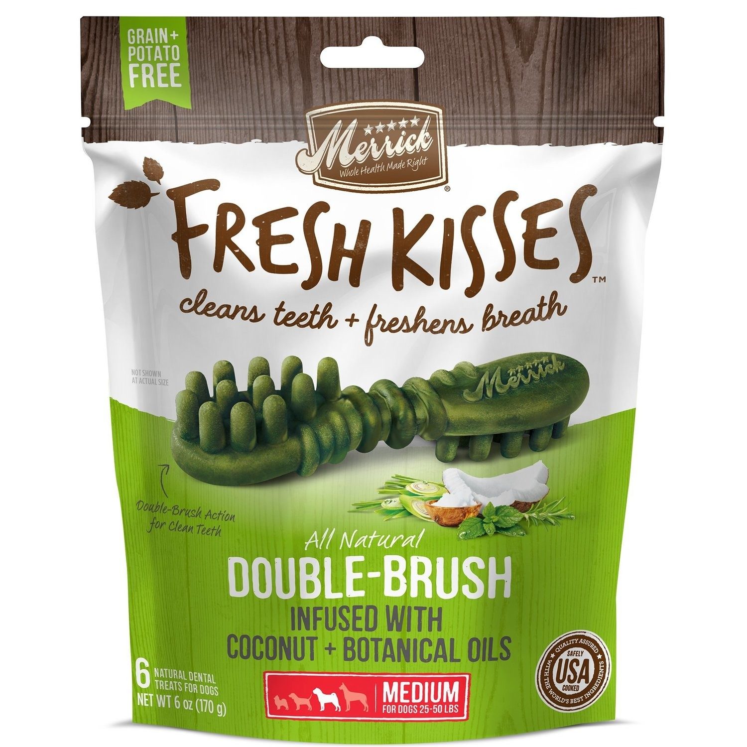 **BOGO** MERRICK Fresh Kisses Coconut Oil  Botanicals Medium Brush Dental Dog Treats, 6 Count (1/19) (T.F7/DT)
