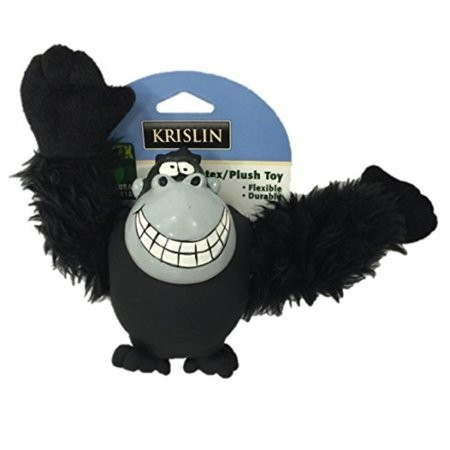Krislin Pet Dog Toy Plush Gorilla Monkey Durable - Natural Latex Fabric Black (B.C9)