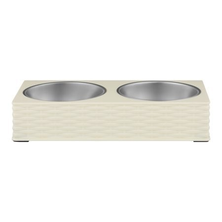 Loving Pets Wicker Double Diner Bowl, Ivory, Large (B.D4)