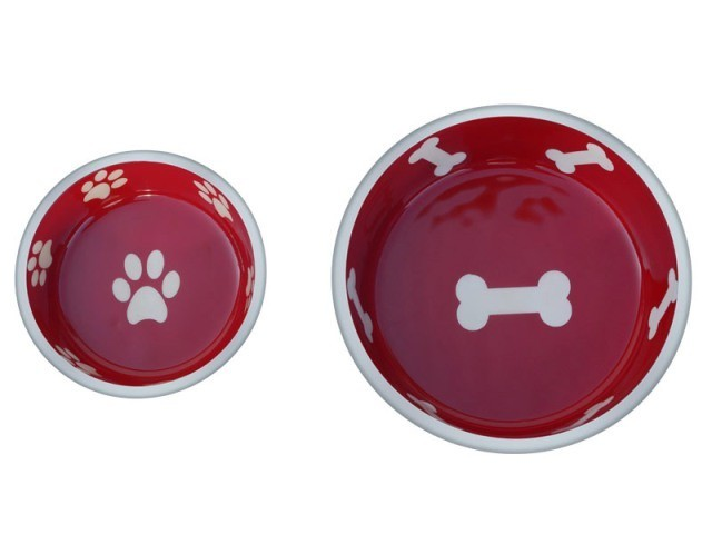 Robusto Bowls Rubber Base Skid Free Low Noise Spill Preventing Dishwasher Safe - Extra Small Cat or Dog Bowls Red (B.D12)