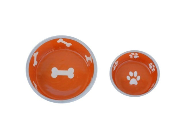 Robusto Bowls Rubber Base Skid Free Low Noise Spill Preventing Dishwasher Safe - Large Cat or Dog Bowls Sunburst (B.D12)