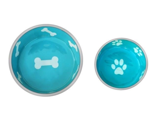 Robusto Bowls Rubber Base Skid Free Low Noise Spill Preventing Dishwasher Safe - Medium Cat or Dog Bowls Aqua (B.D12)