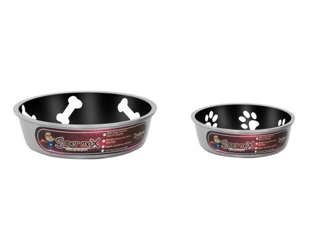 Robusto Bowls Rubber Base Skid Free Low Noise Spill Preventing Dishwasher Safe - Small Cat or Dog Bowls Midnight (B.D12)