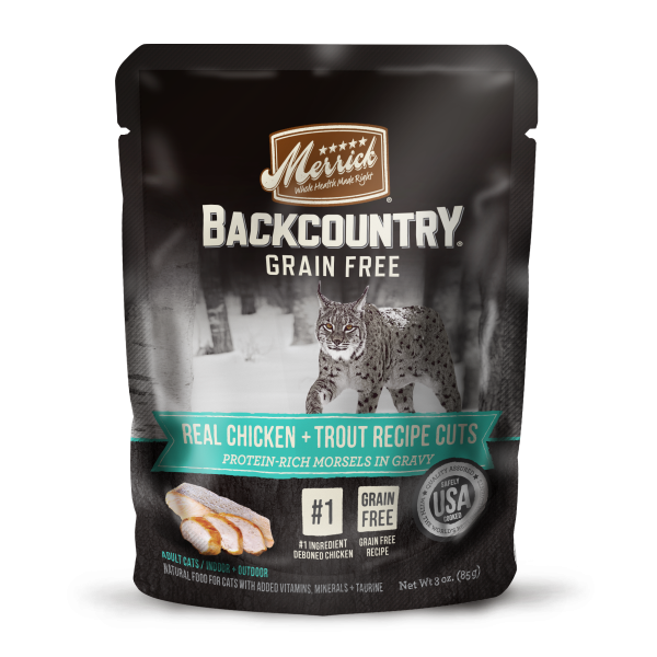 Merrick Backcountry Grain Free Real Chicken Trout Cuts for Cats 3 oz pouches 24 count (3/19) (A.O7)