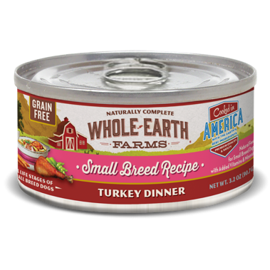 Merrick Whole Earth Farms Grain Free Small Breed Turkey Dinner Canned Dog Food, 3.2 Oz. 24 count (1/19) (A.M8/D4/DW)