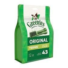 GREENIES DENTAL TREATS ORIGINAL TEENIE 5-15 LBS 43 COUNT 12 OZ (6/19) (T.A3/DT)