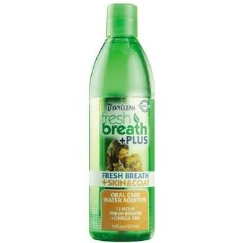 Tropiclean Fresh Breath+ Plus Skin & Coat Water Additive 16 oz. (A.K1)