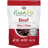 "**SALE** Pure Vita ""Freeze Dried"" ""Grain Free"" Beef Dog Treats 2.5 oz (3/19) (A.K2/DT)"