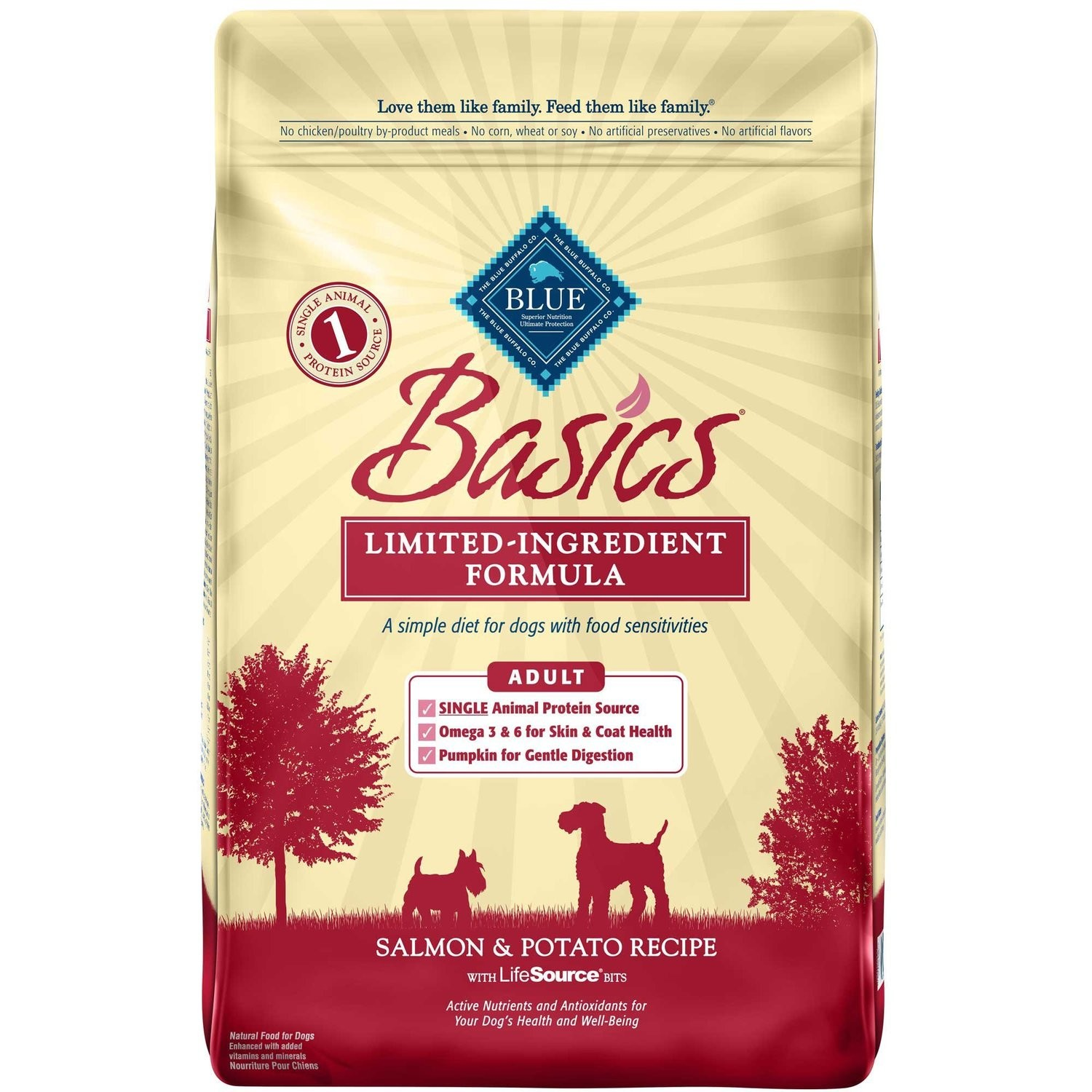 Blue Buffalo Basics Adult Salmon & Potato Recipe Dry Dog Food 24 lbs (2/19) (A.F3)