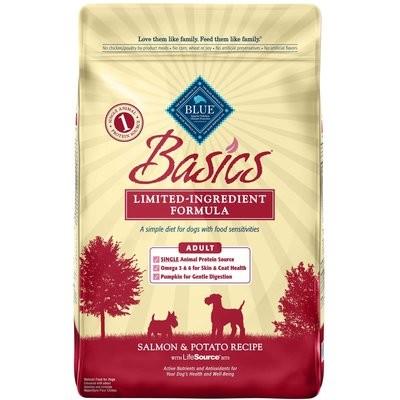 Blue Buffalo Basics Adult Salmon & Potato Recipe Dry Dog Food 24 lbs (2/19) (A.F3)