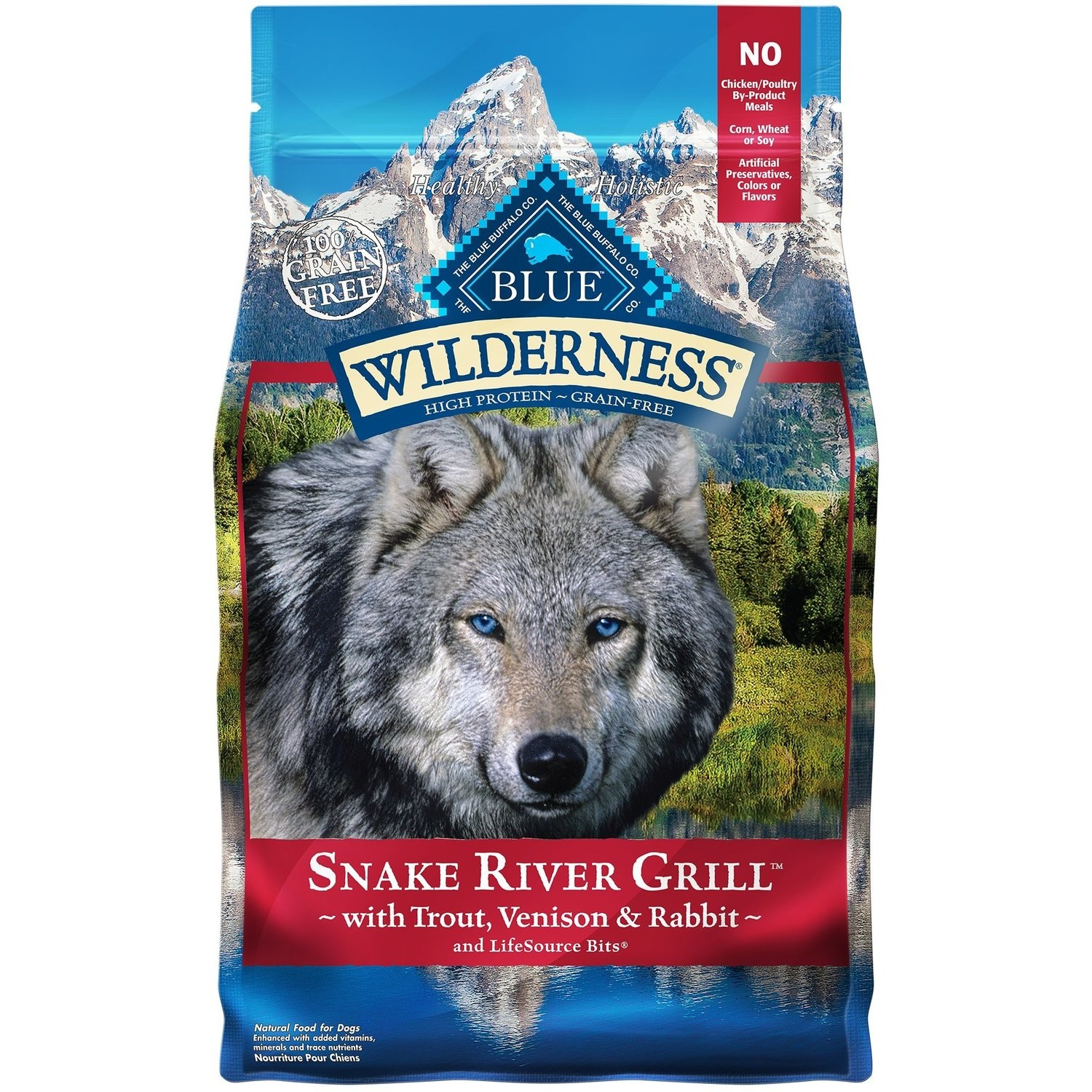 BLUE WILDERNESS SNAKE RIVER GRILL W/TROUT, VENISON & RABBIT 4 LBS (2/19) (A.Q5)