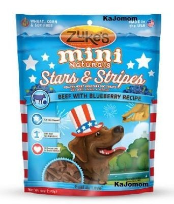 **SALE** Fresh Zukes Mini Naturals Dog Treats Chews Stars & Stripes 6 Oz Beef Blueberry (3/19) (T.F11/B)