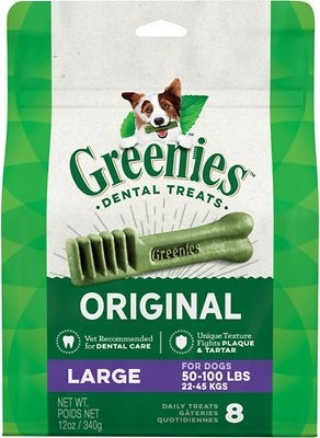 GREENIES ORIGINAL LARGE DENTAL DOG TREATS 8 COUNT (7/19) (T.D14)