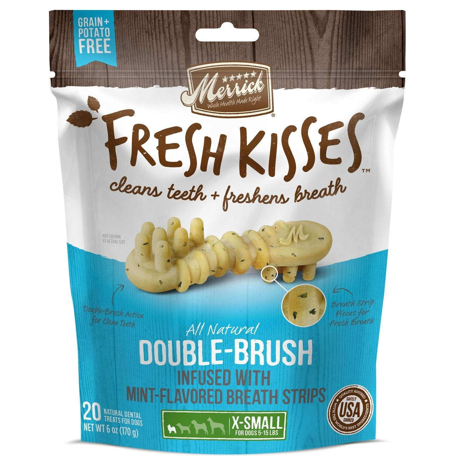 MERRICK FRESH KISSES DOUBLE-BRUSH MINT- FLAOR X-SMALL 5 TO 15 LBS. 20 COUNT 6 OZ (4/19) (T.A6/DT)