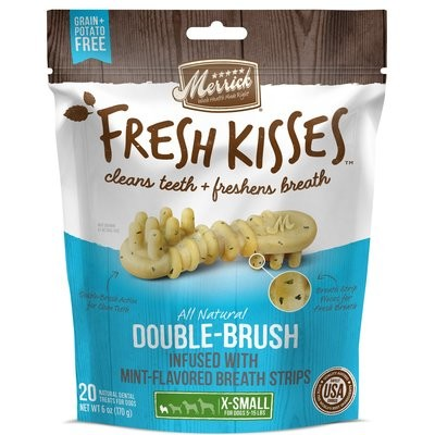 **BOGO** MERRICK FRESH KISSES DOUBLE-BRUSH MINT- FLAOR X-SMALL 5 TO 15 LBS. 20 COUNT 6 OZ (4/19) (T.A6/DT)