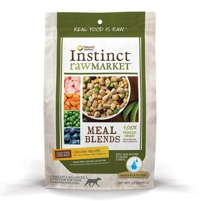 NATURES' VARIETY Instinct Raw Market Meal Blends Chicken Recipe Freeze Dried Food for Dogs 1 LB (7/19) (A.R2)