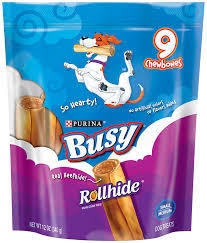 Purina Busy Rollhide Small/Medium Dog Treats 12 OZ 9 COUNT CHEWBONES (5/19) (T.G2)